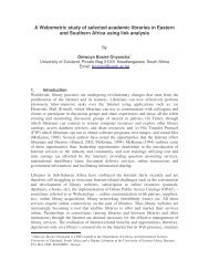 A Webometric study of selected academic libraries in Eastern and ...