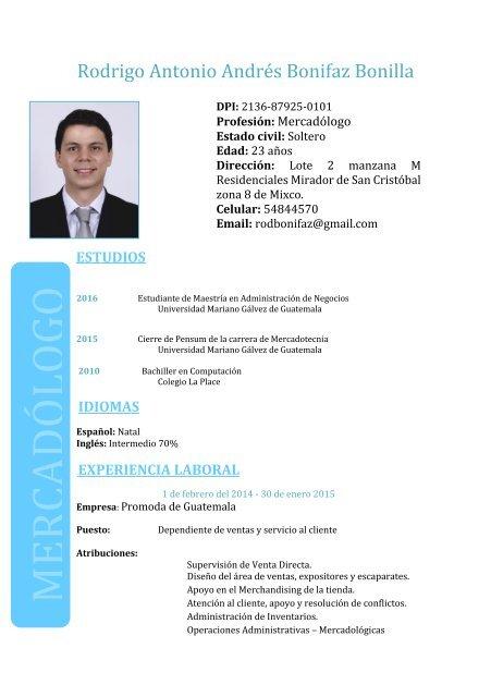 Curriculum Vitae Rodrigo A Bonifaz