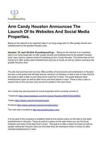 Arm Candy Houston Announces The Launch Of Its Websites And Social Media Properties.