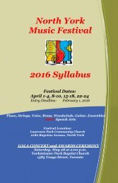 North York Music Festival 2016 Syllabus