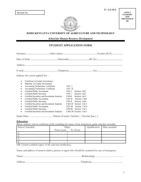 County Governance Application Forms - Jomo Kenyatta University of