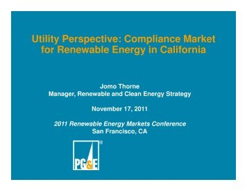 Utility Perspective: Compliance Market for Renewable Energy in ...