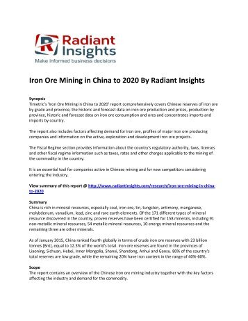 China Iron Ore Mining Market Growth And Forecast Report To 2020: Radiant Insights, Inc