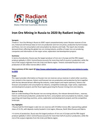 Russia Iron Ore Mining Market Growth & Forecast Up To 2020: Radiant Insights, Inc