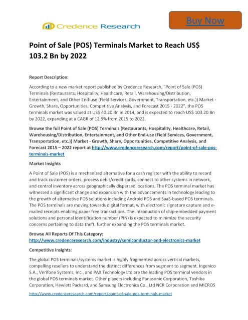 Business Survey: Point of Sale Market to 2022 Trends and Forecast Credence Research