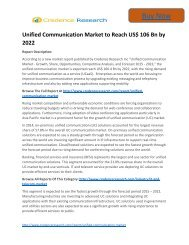 Business Survey: Unified Communication Market to 2022 Trends and Forecast Credence Research