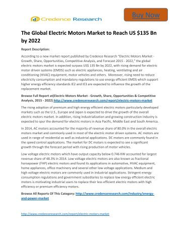 Global Electric Motors Market to 2022 - Industry Outlook, Size,Share,Growth Prospects,Key Opportunities,Trends and Forecasts By Credence Research