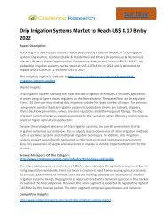 Business Survey: Drip Irrigation Systems Market to 2022 Trends and Forecast Credence Research