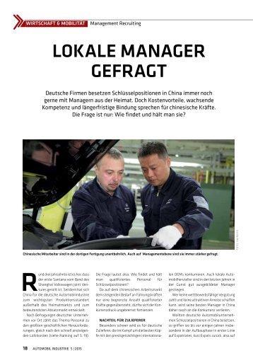 Automobil Industrie: Lokale Manager gefragt