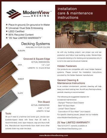 Installation, Care, & Maintenance Instructions - ModernView Decking