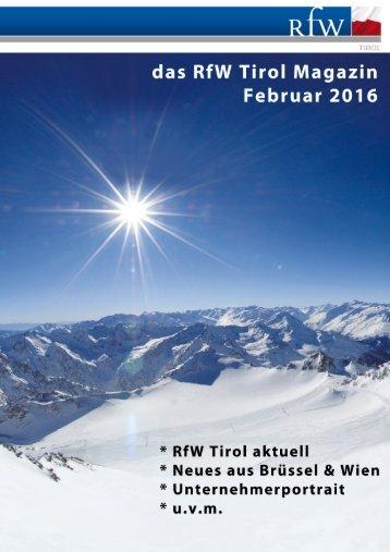 RfW Tirol Magazin Februar 2016