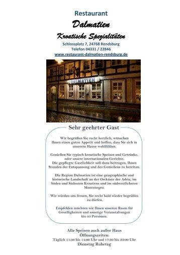 Restaurant Dalmatien Rendsburg - Speisekarte