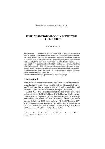 eesti verbimorfoloogia esimestest kirjeldustest - Emakeele Selts