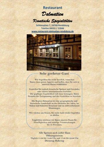 Restaurant Dalmatien Rendsburg Speisekarte