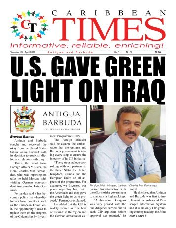 Caribbean Times 87th issue - Tuesday 12th April 2016