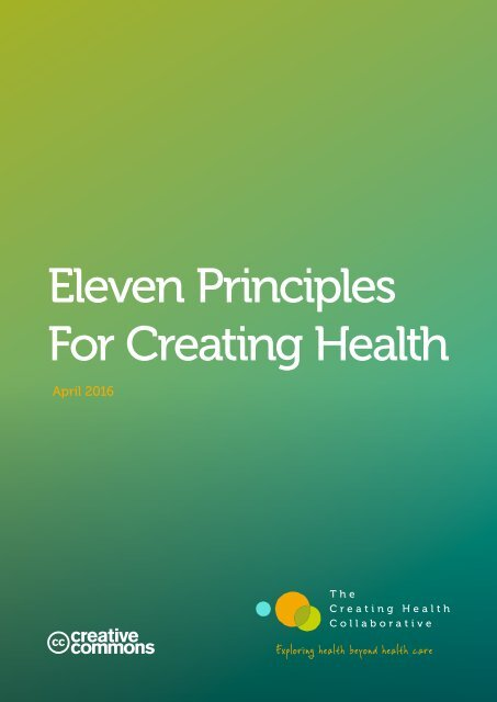 Eleven Principles For Creating Health