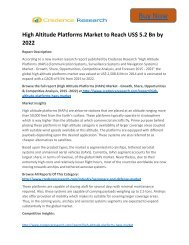 Worldwide Survey: High Altitude Platforms Market to 2022 Share, Growth Credence Research