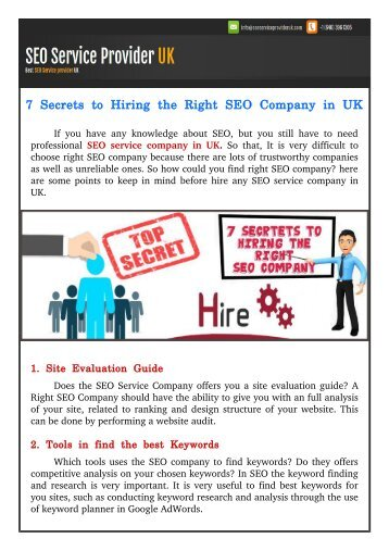 7 Secrets to Hiring the Right SEO Company in UK