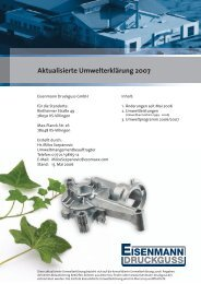 Aktualisierte Umwelterklärung 2007 - Eisenmann Druckguss GmbH