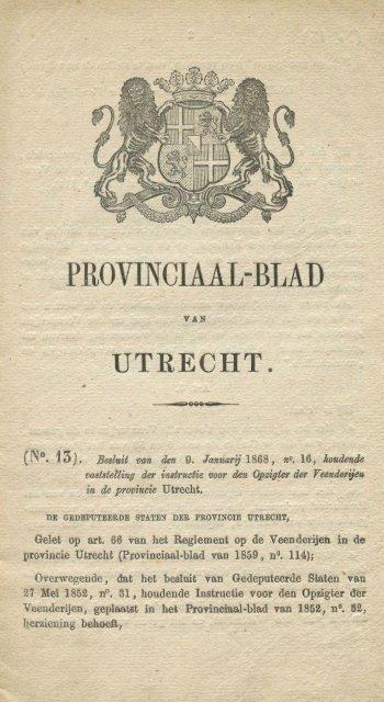 Instructie Opzichter Veenderijen 1868