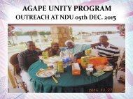 Agape Unity Program - Outreach at NDU 5th December 2015