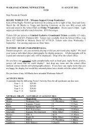 WAIKANAE SCHOOL NEWSLETTER 11 AUGUST 2011 11/24 Dear ...