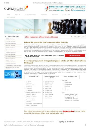 Chief Investment Officer Email Lists | Chief Investment Officer Mailing Addresses