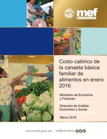 Costo calórico de la canasta básica familiar de alimentos en enero 2016