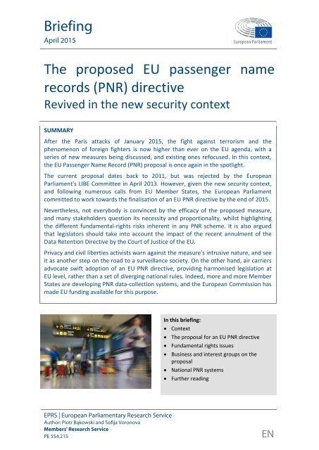 The proposed EU passenger name records (PNR) directive