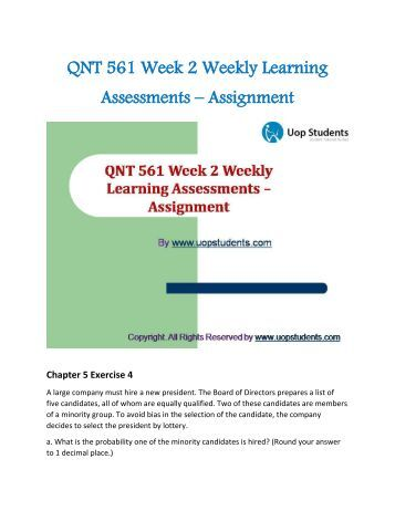 Qnt 561 week 2 discussion questions
