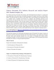 Chinese Polyamide (PA) Industry Research and analysis Report 2015 Radiant Insights, Inc