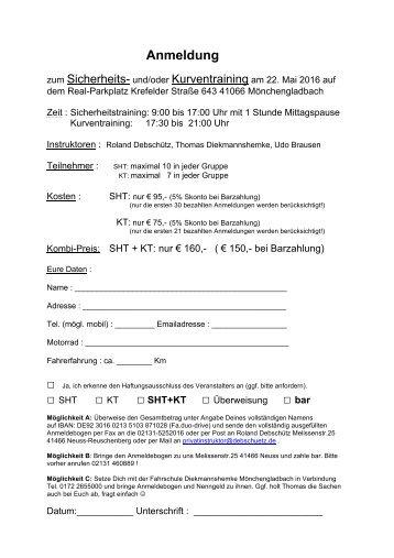 Anmeldung SHT-KT am 22.Mai 2016 in MG