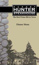Dinner Menu - Hungry Hunter Steakhouse