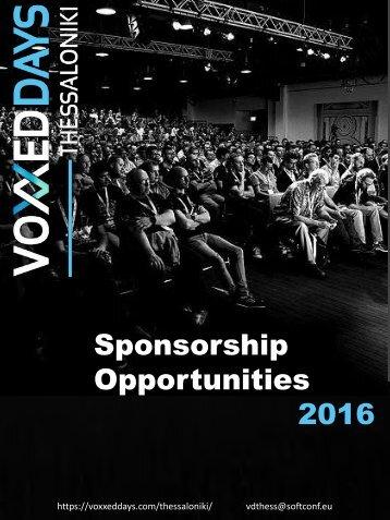 Sponsorship Opportunities 2016