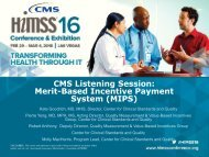 CMS Listening Session Merit-Based Incentive Payment System (MIPS)