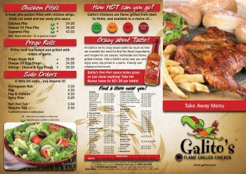 Chicken Pita's Prego Rolls Side Orders How HOT can you go - Galito's