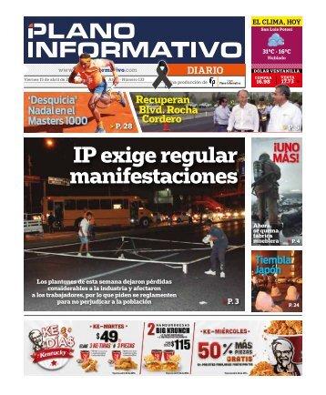 IP exige regular manifestaciones