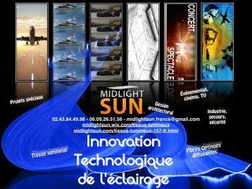 Innovation technologique de l'éclairage - fibre optique diffusante-tissu lumineux