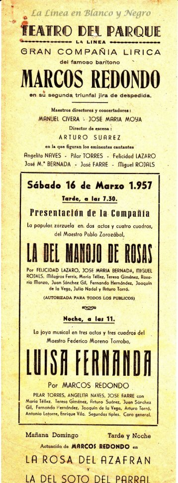 1957-03-16 Gran Compañía Lírica Marcos Redondo - La del manojo de rosas