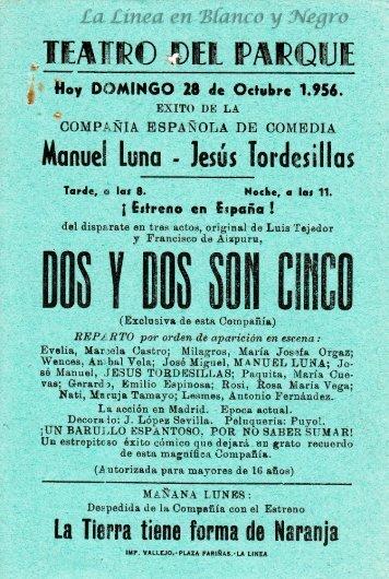 1956-10-28 Compañia de Comedia Manuel Luna - Dos y dos son cinco