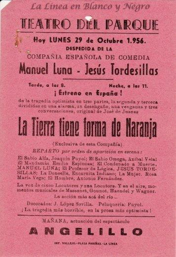 1956-10-29 Compañia de Comedia Manuel Luna - LA tierra tiene forma de naranja