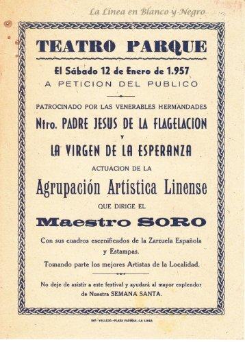 1957-01-12 Agrupacopn Artistica Linense - Beneficio la Esperanza y Flagelacion