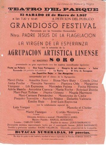 1957-01-12 Agrupacopn Artistica Linense - Beneficio la Esperanza y Flagelacion 01