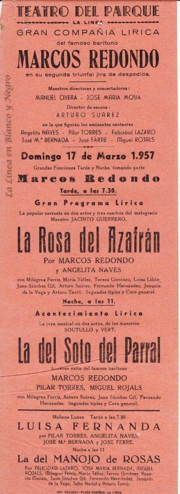 1957-03-17 Gran Compañía Lírica Marcos Redondo - La Rosa del Azafran