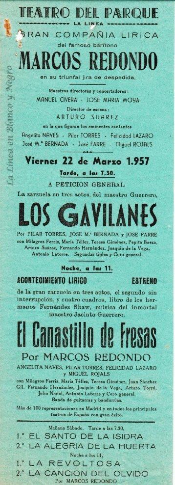 1957-03-22 Gran Compañía Lírica Marcos Redondo - Los Gavilanes