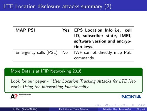 LTE Location disclosure a