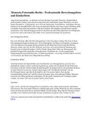Memoria Fotostudio Berlin - Professionelle Bewerbungsfotos und Kinderfotos
