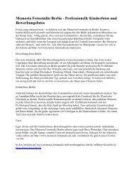 Memoria Fotostudio Berlin - Professionelle Kinderfotos und Bewerbungsfotos