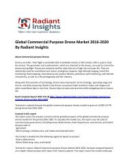 Global Commercial Purpose Drone Market Size, Share,Trend Analysis, Market Growth By Technology Application And Segment Forecasts 2016-2020