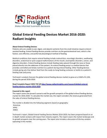 global enteral feeding devices to 2014
